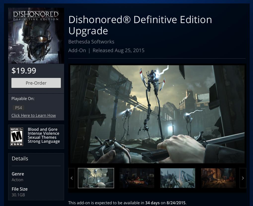 Улучшить Dishonored до Definitive Edition можно будет за полцены - Изображение 1