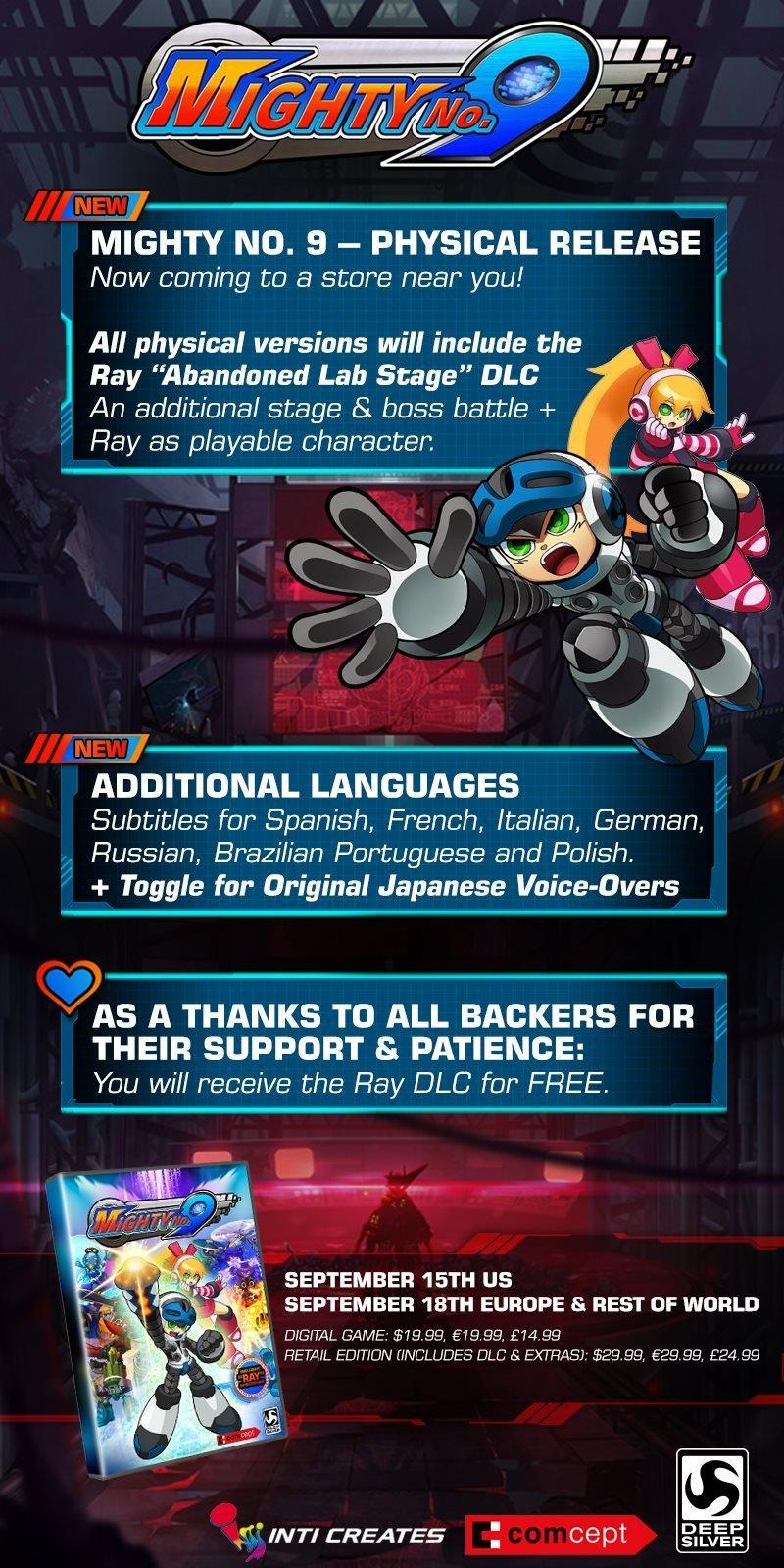 Выход Mighty No. 9 от создателя Mega Man откладывается до сентября - Изображение 1