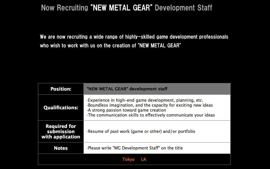 Назло всем: Konami ищет сотрудников для новой Metal Gear - Изображение 2