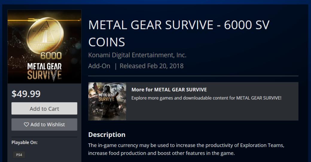 Игроки ненавидят Metal Gear Survive, а тут еще и микротранзакции за $50 появились. - Изображение 1